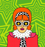 Retro girl. Colorful illustration of a retro styled girl Royalty Free Stock Photos