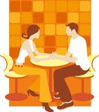 Retro girl and boy in cafe diner Royalty Free Stock Photo