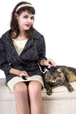 Retro Girl with a Cat Stock Photo