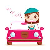 Retro girl driving Royalty Free Stock Image