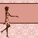 Retro girl frame Royalty Free Stock Photos