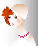 Retro girl in a hat fashion. Vector fashion illustration vintage  girl in a hat Stock Image
