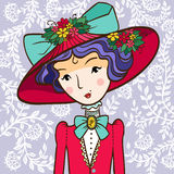 Retro girl in a Hat Royalty Free Stock Images