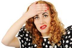 Retro girl with headache Royalty Free Stock Photography