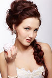 Retro girl with marshmallow Royalty Free Stock Image