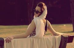 Retro girl in the park Stock Photo