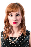 Retro girl with pearl necklace Royalty Free Stock Photo