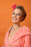 Retro girl in pink bathrobe Stock Photo