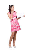 Retro girl in a pink dress Royalty Free Stock Photo