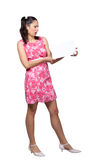 Retro girl in a pink dress Stock Photos