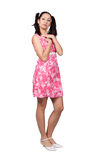 Retro girl in a pink dress Royalty Free Stock Image
