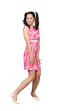 Retro girl in a pink dress Stock Image