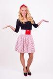 Retro girl with polka-dotts Royalty Free Stock Photography