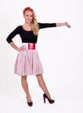 Retro girl with polka-dotts Stock Photos
