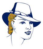 Retro girl portrait in hat. Vector retro girl portrait in hat Royalty Free Stock Images