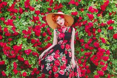 Retro girl with red lips in stylish dress with a print of roses on a beautiful summer background. Young redhead model in a hat on. A background of a bush of stock image