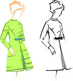 Retro Girl. Retro Fashion Vector Sketches. Stock Photo