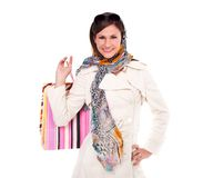 Retro girl shopping Stock Photos