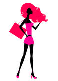 Retro girl shopping silhouette Stock Photography