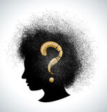 Retro girl silhouette with question Stock Image