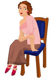 Retro girl sitting on the chair isolated Royalty Free Stock Images
