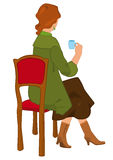 Retro girl sitting with coffee cup isolated Stock Photography