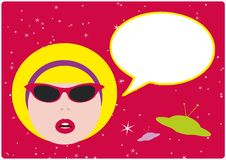 Retro Girl With Speech Bubble Stock Photo