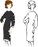 Retro Girl. Vintage Fashion Sketches. Stock Images