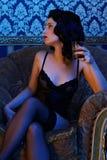 Retro girl wearing lingerie Royalty Free Stock Photos