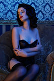 Retro girl wearing lingerie Royalty Free Stock Photography
