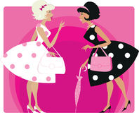 Retro girls. Vector illustraion of two stylish retro girls talking Stock Images