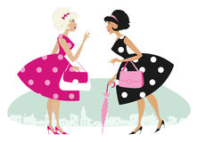 Retro girls. Vector illustration of two stylish retro girls talking Stock Illustration