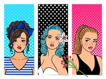 Retro girls banners. Vector pop art comic glasses lady cards, beautiful vintage women vector illustration Royalty Free Stock Photography