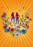 Retro Girls Party Flyer or Poster stock photos