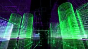 Retro- glühende Hintergrundschleife Digital-Stadt lizenzfreie abbildung