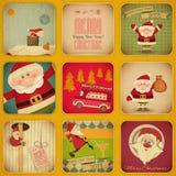 Retro glad jul och nya år kort. Santa Se Fotografering för Bildbyråer