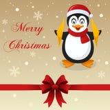 Retro glad julkortpingvin Arkivbild