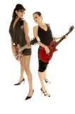Retro Glam Rock Girls. Sexy young glam rock guitarists Stock Photos