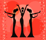 Retro Glamour, Silhouettes Royalty Free Stock Photography