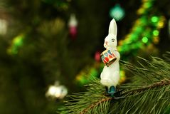 Retro Christmas ornament - hare-drummer Stock Images