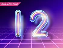 Retro glass neon font Stock Photo