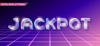 Retro glass neon lettering Stock Photography