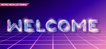 Retro glass neon lettering Royalty Free Stock Image