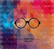 Retro glasses on colorful geometric background Stock Photo