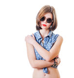 Retro glasses girl closeup Royalty Free Stock Photos