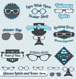 Retro Glasses Labels and Stickers. Collection of vintage style glasses labels and badges Royalty Free Stock Image