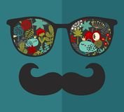 Retro glasses with reflection for hipster. Royalty Free Stock Photo