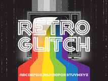 Retro glitch tv with rainbow. Retro gitch tv with rainbow and font set. Color paint flows from screen. Vector concept illustration Royalty Free Stock Photo
