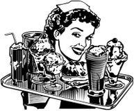 Retro gość restauracji kelnerka Obraz Royalty Free