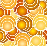 Retro Gold Circles and Hoops. A colorful texture pattern background featuring circles, rings, spheres and/or balls casually placed in fun colors Royalty Free Illustration